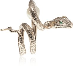 Designer Rings, Arched Snake Bronze Ring w/ Pearl