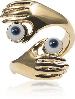 Designer Rings, Contrarié Bronze Ring w/ Hands And Blue Eyes
