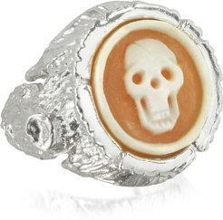 Designer Rings, Treetrunk Silver Ring w/ Cameo
