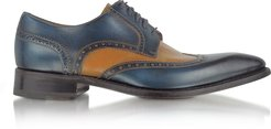 Designer Shoes, Two-Tone Handcrafted Leather Wingtip Oxford Shoes