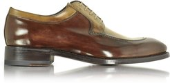 Designer Shoes, Italian Handcrafted Two Tone Leather Derby Shoe