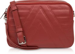 Designer Handbags, Red Parisienne Quilted Leather Crossbody Bag