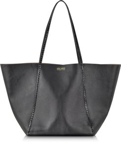 Designer Handbags, Black Ayers and Calf Leather Tote