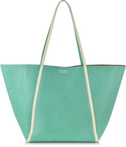Designer Handbags, Pale Yellow Ayers and Green Calf Leather Tote