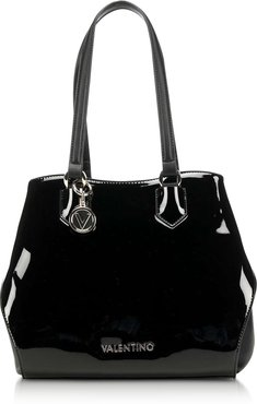 Designer Handbags, Winter Pascal Black Patent Eco-Leather Tote