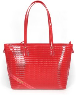 Designer Handbags, Red Patent Eco-Leather Tote Bag