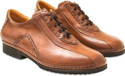 Designer Shoes, Tan Italian Hand Made Calf Leather Lace-up Shoes