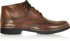 Designer Shoes, Tan Handmade Italian Leather Wingtip Ankle Boots