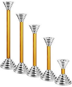 Designer Murano Accents, Luce - Amber Murano Glass and Sterling Silver Candleholder
