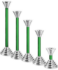 Designer Murano Accents, Luce - Green Murano Glass and Sterling Silver Candleholder