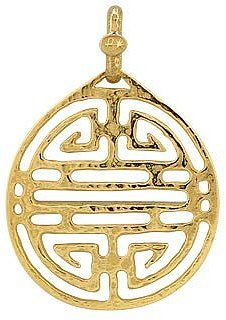 Designer Necklaces, Chinese Labyrinth - 18k Yellow Gold Pendant