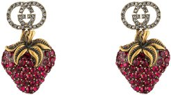 Earrings with strawberry pendant
