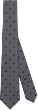 Silk tie with bees and stars