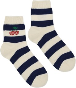 Striped cotton socks with Gucci cherry