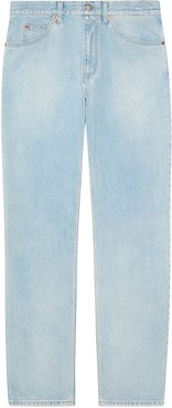 Regular fit stone-bleached jeans