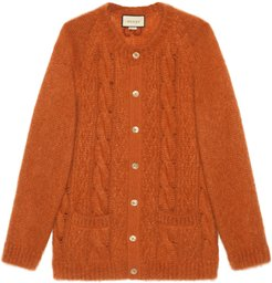 Cable knit mohair cardigan with GG