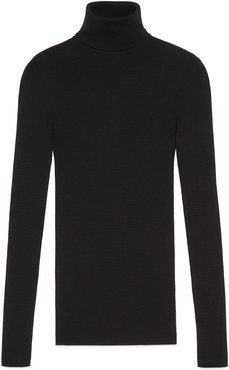 Fine rib knit wool turtleneck