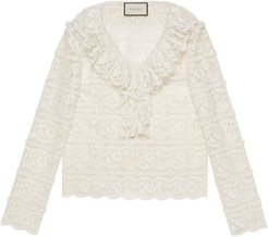 Flower lace shirt with ruffles
