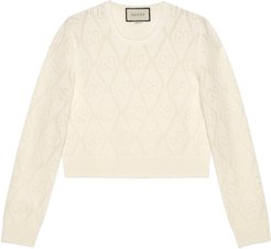 GG perforated wool crop sweater