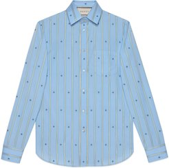 Cotton shirt with bee stripe fil coupé