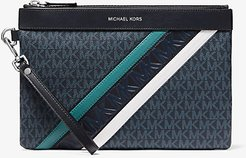 Large Logo Embossed Stripe Pouch