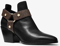 Pamela Leather and Logo Ankle Boot