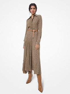Floral Paisley Silk Georgette Shirtdress