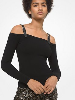 Leather Trim Stretch Viscose Off-The-Shoulder Top