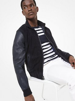 Perforated Suede Leather Bomber Jacket