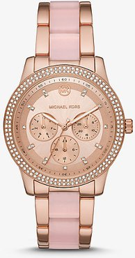 Oversized Tibby Pavé Rose Gold-Tone and Acetate Watch