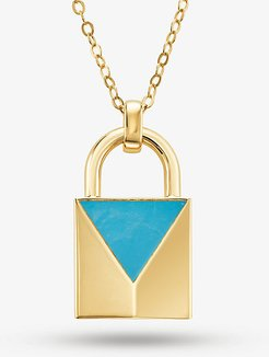 14K Gold-Plated Sterling Silver Turquoise Large Lock Necklace