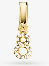 14K Gold-Plated Sterling Silver Pavé Number 8 Charm