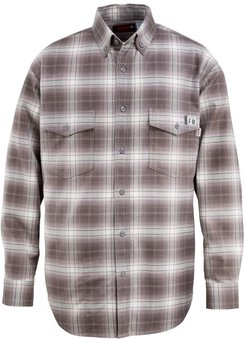 FR Plaid Long Sleeve Twill Shirt Charcoal, Size XL