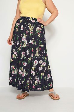 Plus Size Navy Floral Tiered Maxi Skirt YC