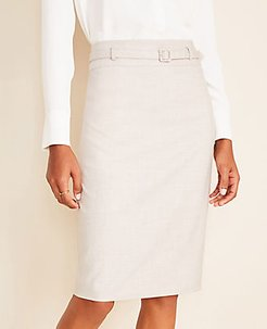 The Belted Pencil Skirt in Crosshatch