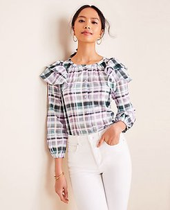Plaid Ruffle Shoulder Blouse