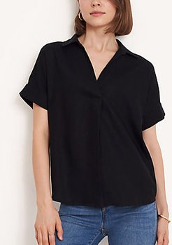 Linen Blend Split Neck Shirt
