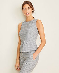 The Petite Draped Shell in Plaid