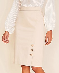 The Buttoned Pencil Skirt in Cotton Sateen