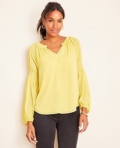 Petite Split Neck Smocked Sleeve Blouse