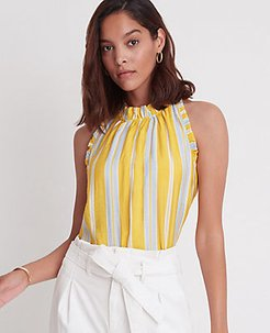 Petite Striped Ruffle Halter Shell Top
