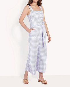 Petite Gingham Belted Jumpsuit