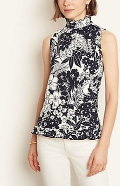 Petite Floral Ruffle Neck Top