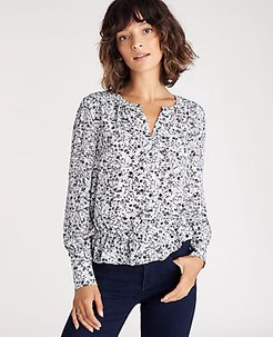 Floral Mixed Media Cinched Waist Top