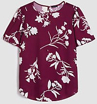 Petite Floral Mixed Media Smocked Flutter Sleeve Top