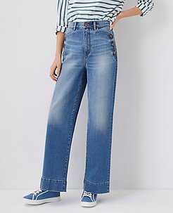 Button Pocket High Rise Trouser Jeans In Light Indigo Wash