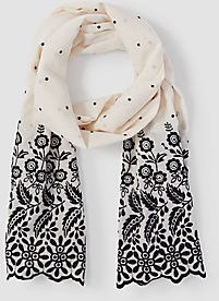 Dotted Floral Eyelet Scarf