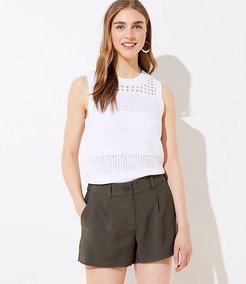 Textured Pleated Shorts