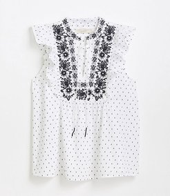 Embroidered Floral Dot Ruffle Shell