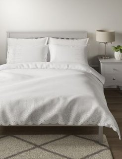 Pure Cotton Broderie Anglaise Bedding Set - White - Single (3 ft)